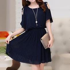 Romantica - Cutaway-Shoulder Pleated Chiffon Dress