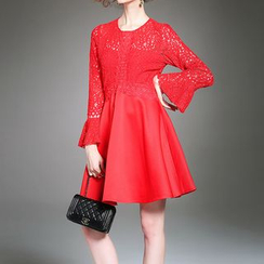 Alaroo - Flared Long-Sleeve A-line Dress