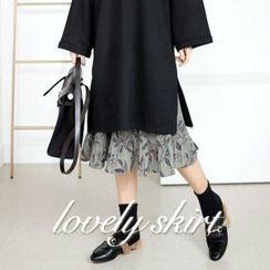 STYLEBYYAM - Floral Patterned Pleated Midi Skirt