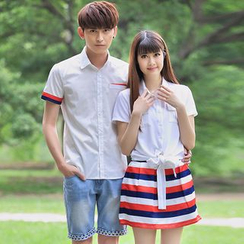 Igsoo - Couple Matching Panel Short-Sleeve Shirt / Shirtdress