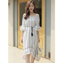 BBAEBBAE - Off-Shoulder 3/4-Sleeve Patterned Midi Dress with Cord