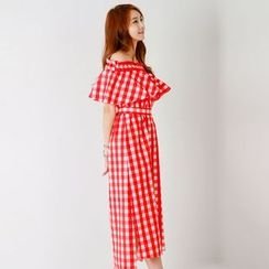 FASHION DIVA - Ruffled Off-Shoulder Check Long Dress with Sash