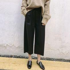 Moon City - Faux Leather Cropped Wide Leg Pants