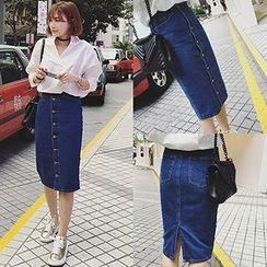 Honeydew - Buttoned Denim Midi Skirt