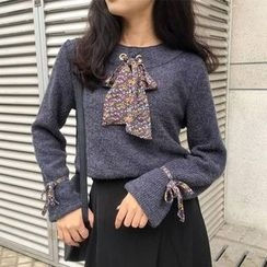 Clair Fashion - Inset Tie Knit Top