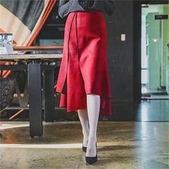 ERANZI - Asymmetric-Hem Wool Blend Long Skirt