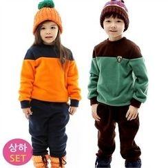 URAVI - Kids Set: Color-Block Brushed-Fleece Lined Sweatshirt + Sweatpants