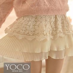 Tokyo Fashion - Crochet-Layered Accordion-Pleat Chiffon Skort
