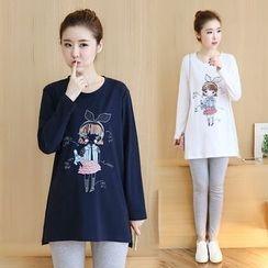 GESTA - Maternity Long-Sleeve Printed T-Shirt
