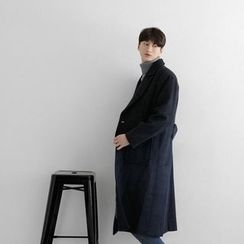 Seoul Homme - Dual-Pocket Single-Breasted Coat