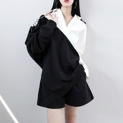 Sonne - 拼接撞色翻領寬鬆長袖衛衣