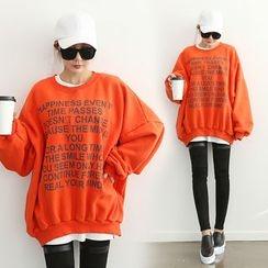 DANI LOVE - Lettering Brushed-Fleece Lined Sweatshirt