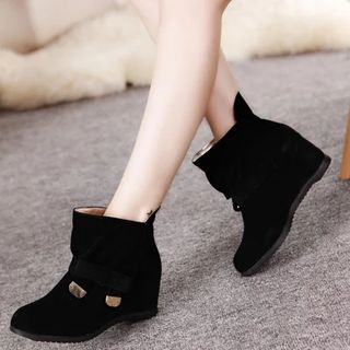 Shoes Galore - Hidden Wedge Bow Short Boots