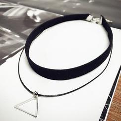 Jael - 閃亮三角吊墜貼脖項鏈