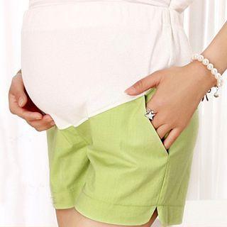 SO-IN - 孕婦麻布棉質短褲
