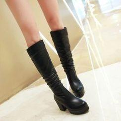 佳美 - 厚底粗跟高身靴