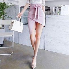 Babi n Pumkin - Tie-Waist Asymmetric-Hem Skirt