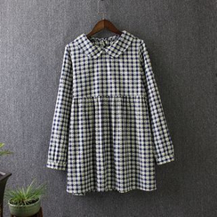 Blue Rose - Gingham Long-Sleeve Collared Dress