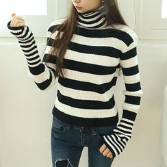 Dodostyle - Stripe Turtle-Neck Ribbed Knit Top