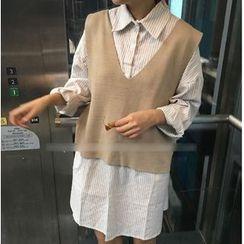 MATO - Set: Striped Shirtdress + Plain Knit Vest