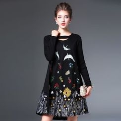 Elabo - Embroidered Long-Sleeve A-Line Dress