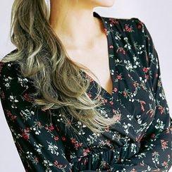 chuu - Ruffle-Hem Floral Chiffon Long Empire Dress