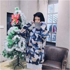 Dute - Camo Turtleneck Pullover Dress
