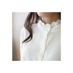CHERRYKOKO - Scallop-Neck Wide-Cuff Blouse