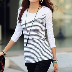 Ranee - Long-Sleeve Stripe Panel T-Shirt