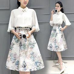 Ashlee - Set: Plain 3/4 Sleeve Blouse + Print Midi Skirt