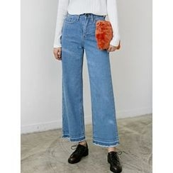 FROMBEGINNING - Fringed-Hem Wide-Leg Jeans