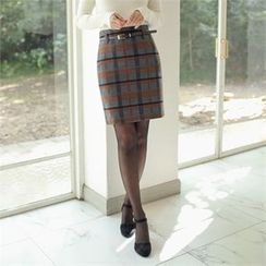 Styleberry - High-Waist Plaid Skirt with Belt