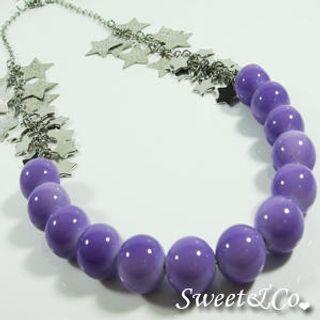 Sweet & Co. - Sweet Neon Stars & Purple Pearl Silver Necklace
