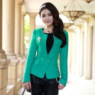 Mooiee - Wool-Blend Double-Button Blazer