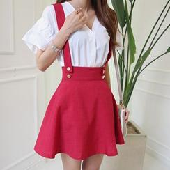 DABAGIRL - Detachable Suspender A-Line Mini Skirt