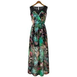 Flower Idea - Sleeveless Floral Maxi Dress