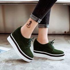 Pastel Pairs - Faux-Suede Hidden Wedge Platform Lace-Up Shoes