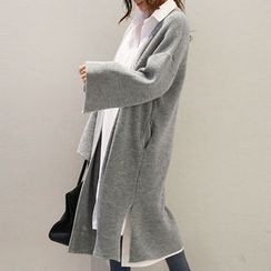 NANING9 - Slit-Sleeve Open-Front Long Cardigan
