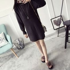 Qimi - Piped Mock-neck Knit Dress