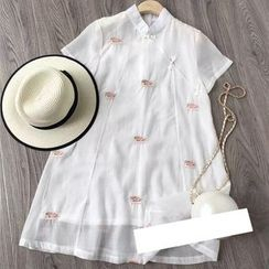AIGIL - Short-Sleeve Embroidered Dress