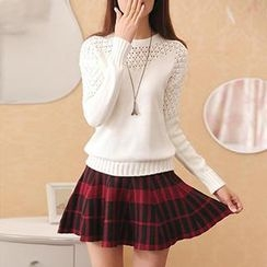 Bubbleknot - Set: Pointelle Sweater + A-Line Skirt