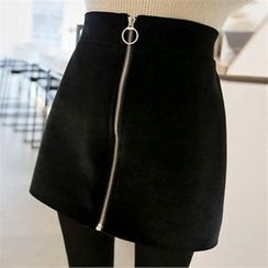 QNIGIRLS - Zip-Front Velvet Mini Skirt