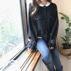Hello sweety - Contrast-Trim Buckled-Sleeve Cardigan
