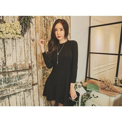 UUZONE - Round-Neck A-Line Knit Dress