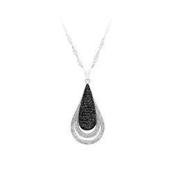 BELEC - 925 Sterling Silver Water Drops Pendant with White and Black Cubic Zircon and Necklace