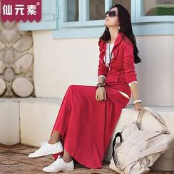 Fairy Essential - 套装: 连帽拉链外套 + 皱纹边长裙