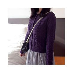 MASoeur - Round-Neck Cable-Knit Cardigan