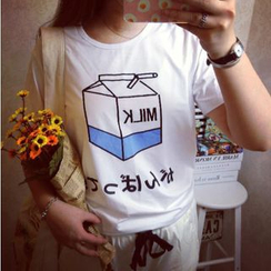 Kikiyo - Milk Carton Print T-Shirt