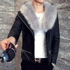 Bay Go Mall - Furry Trim Faux Leather Jacket