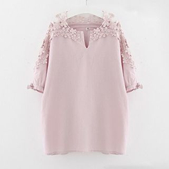 Meimei - Crochet Panel Short-Sleeve T-Shirt